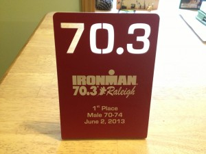 FitOldDog's age-group first place plaque in the Raleigh Half Ironman 2013.