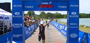 Greg finishing the 2014 Eagleman Half Ironman