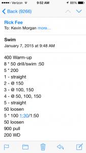 Swim Jan 7 2015 swim workout
