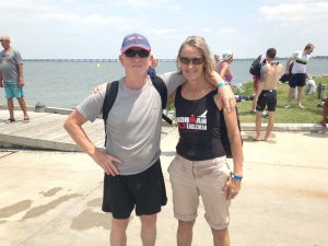 Heart stent? FitOldDog and Pauline, with AAA graft and AAA stent graft, before the 2015 Eagleman Half Ironman race.