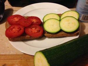 Raw zucchini sandwich, tastes great.