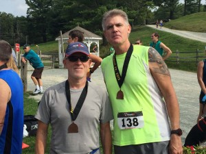 FitOldDog and Warren with their medals in Boone. Warren is too young for prostate problems.