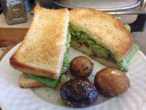 Vegan nutrion; roast potato sandwich.