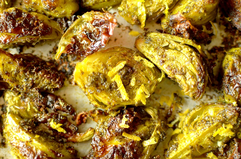 Be prepared to become addicted to these Crispy Lemon Pesto Roasted Brussels Sprouts! So flavorful and drool-worthy, you'll want them on repeat! Also whole30, vegan + paleo friendly.