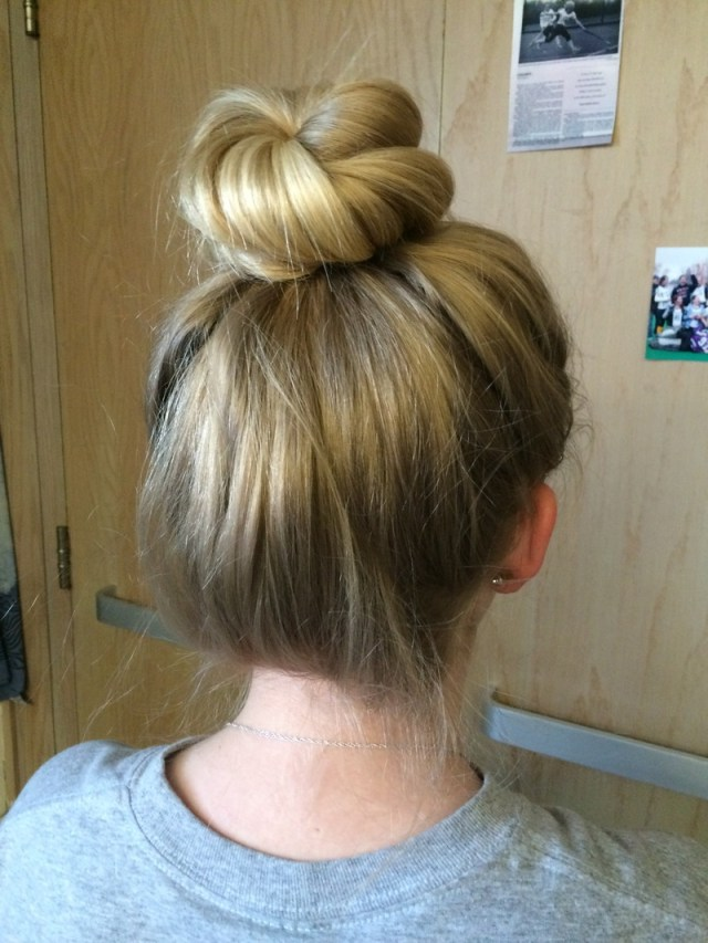 bun - great hairstyles for playing sports with long hair
