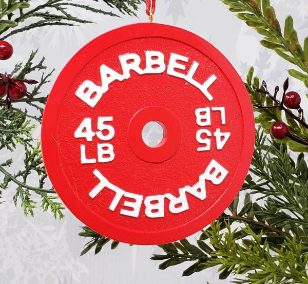 Barbell Weight Plate Christmas Ornament 45lb Crossfit powerlifting holiday decoration gift fitness athlete weightlifting strong swole bodybuilding