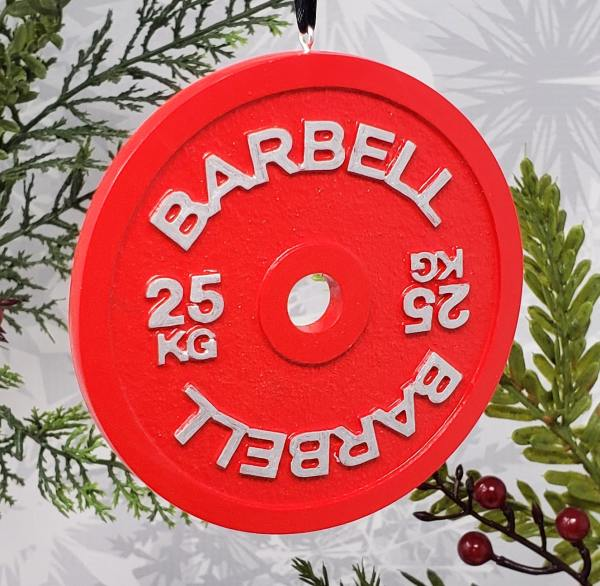Barbell Plate 25KG Christmas Ornament Powerlifting Weightlifting Strength Sports Holiday Decor Decoration