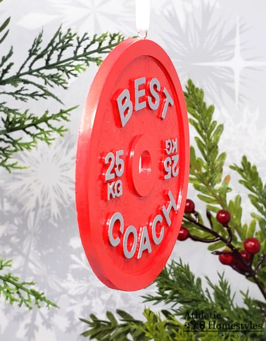 Barbell Plate 25kg Best Coach Christmas Ornament Decoration Weight