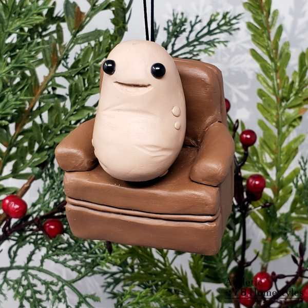 Couch Potato Lazy Person Christmas Ornament Desk Decoration Funny Gift Kawaii Spud Vegetarian Vegan Food Vegetable Comedy