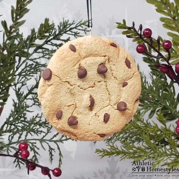 faux chocolate chip cookie Christmas ornament decor