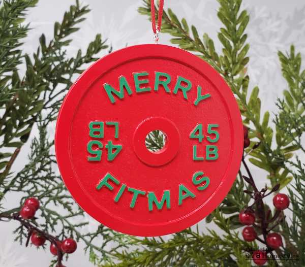 Merry Fitmas Barbell Christmas Ornament