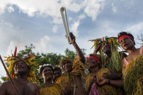 The Queen's Baton receives a warm traditional welcome on arrival in Kimbe, Papua New Guinea, on 1 December 2017. This Queen's Baton Relay will engage with all 70 nations and territories of the Commonwealth, over 388 days and cover 230,000km. It will be the longest Relay in Commonwealth Games history, finishing at the Opening Ceremony on the Gold Coast on 4th April 2018.
