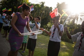 The Queen's Baton was carried by Millicent Barty (purple dress, Queen's Young Leader Award recipient) to an afternoon reception at the residence of the British High Commissioner His Excellency David Ward, as it relayed through Honiara, Solomon Islands, on 6 December 2017. This QueenÕs Baton Relay will engage with all 70 nations and territories of the Commonwealth, over 388 days and cover 230,000km. It will be the longest Relay in Commonwealth Games history, finishing at the Opening Ceremony on the Gold Coast on 4th April 2018.