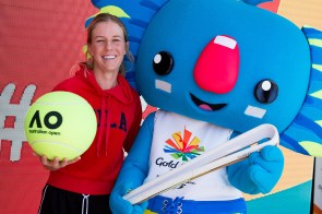 The Queen's Baton and Gold Coast 2018 Commonwealth Games (GC20) mascot Borobi visited the AO Ballpark and ran into Australian player OIivia Rogowska