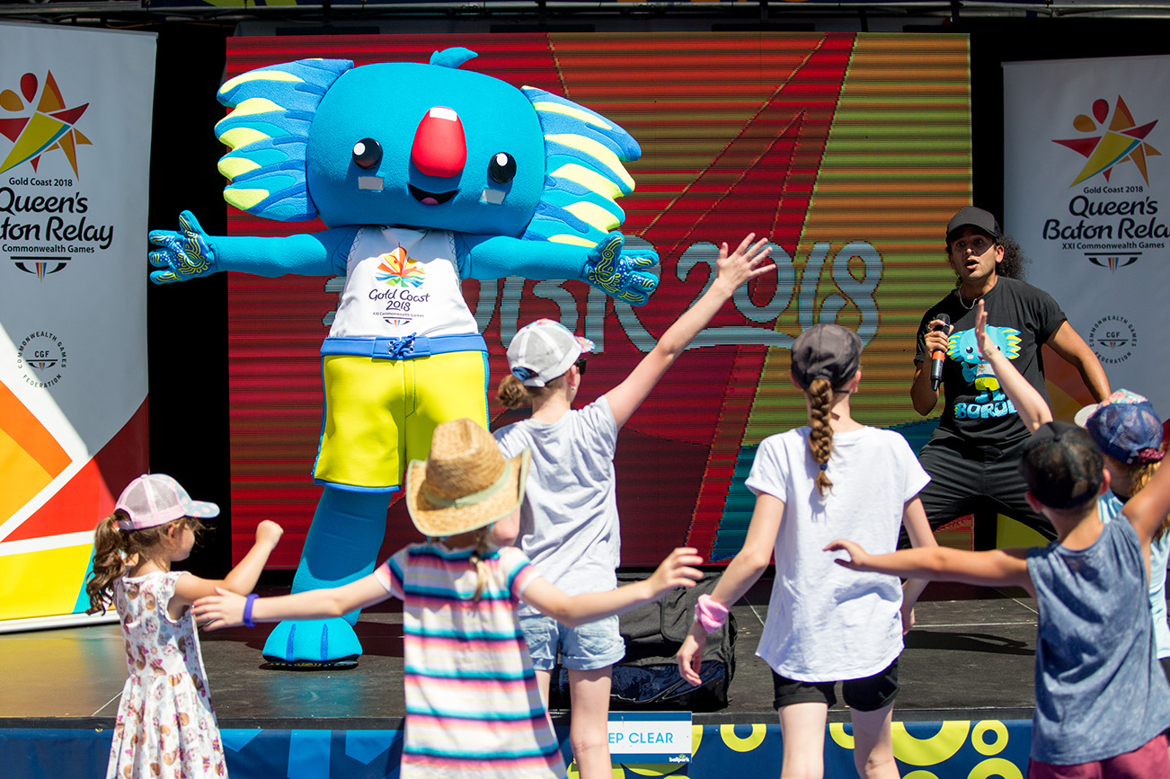 The Queen's Baton and Gold Coast 2018 Commonwealth Games (GC20) mascot Borobi visited the AO Ballpark,