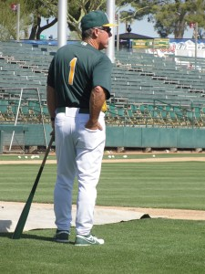A's spring training coach Phil Garner keeping an eye on infield drills