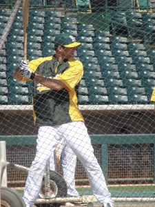 Nate Freiman showed some real power in batting practice