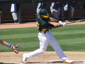 Chris Young led off for the A's on Sunday
