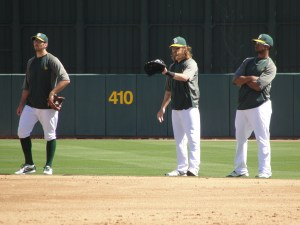 Josh Reddick standing in at second base during batting practice. Could he be the answer at second? He did snag a line drive there!