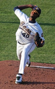 Beloit Snappers' Pitcher Raul Alcantara (6 1/3 IP / 6 H / 1 ER / 0 BB / 8 K)