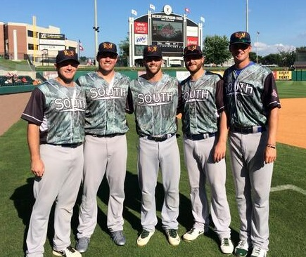 Midland RockHounds All-Stars: first baseman Max Muncy, outfielder Josh Whitaker, shortstop Dusty Coleman, and pitchers Nate Long and Seth Frankoff before Tuesday's Texas League All-Star Game in Little Rock (photo courtesy of @RockHounds)