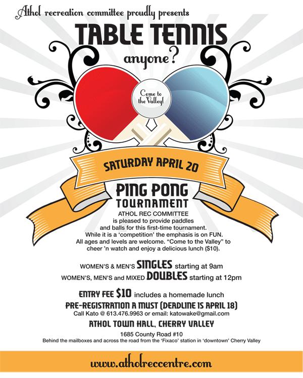 Table Tennis Anyone???? Tournament April 20th!   The Athol ...