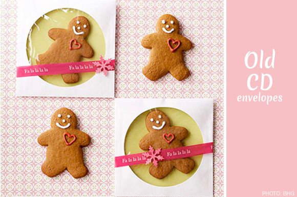 old cd envelopes cookie gift wrap