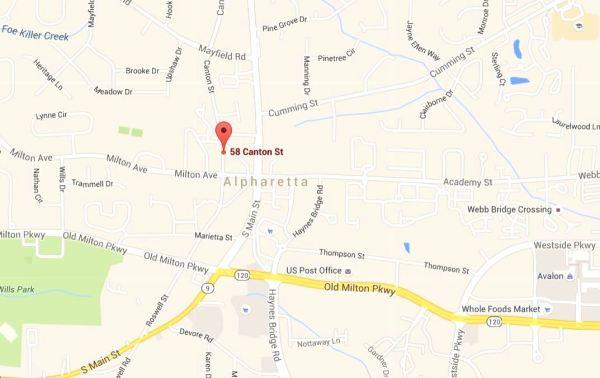 Alpharetta Lofts Map Location
