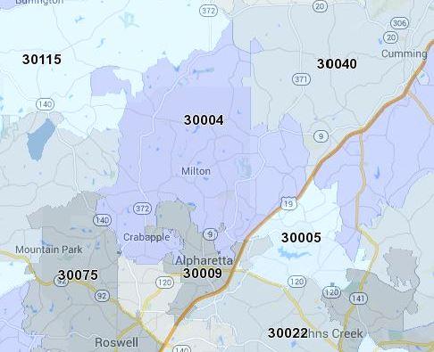 Milton GA 30004 Zip Code Map Location   At Home In Milton Georgia