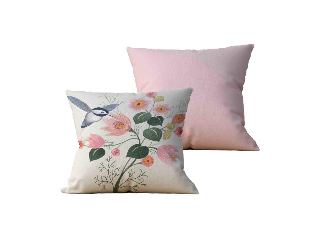 Kit com 2 Almofadas decorativas Flor & Beija-Flor Duo - 45x45 - by #1 AtHome Loja