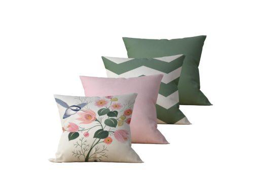 Kit com 4 Almofadas Decorativas Flor & Beija-Flor Duo - 45x45 - by #1 AtHome Loja