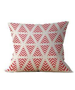 Almofada Decorativa Geométrico Bege e Vermelho - 45x45