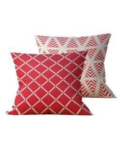 Kit: 2 Almofadas Decorativas Vermelha Triangular - 45x45