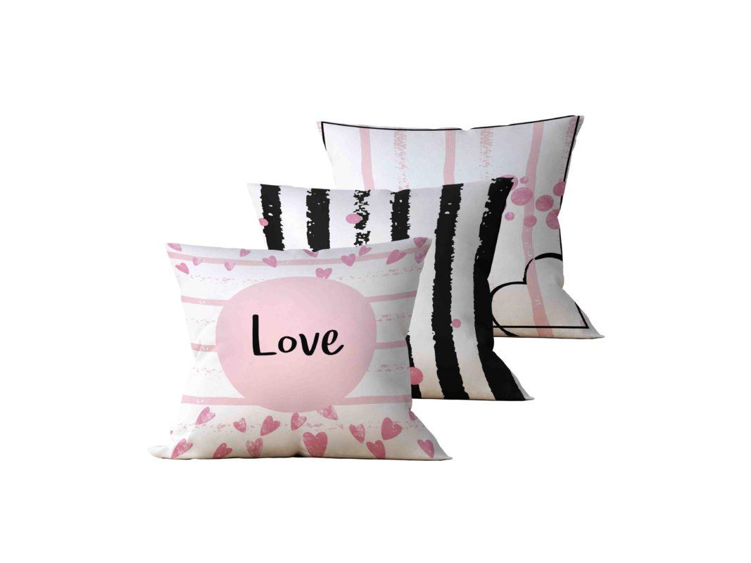Kit: 3 Almofadas Decorativas Love - 45x45