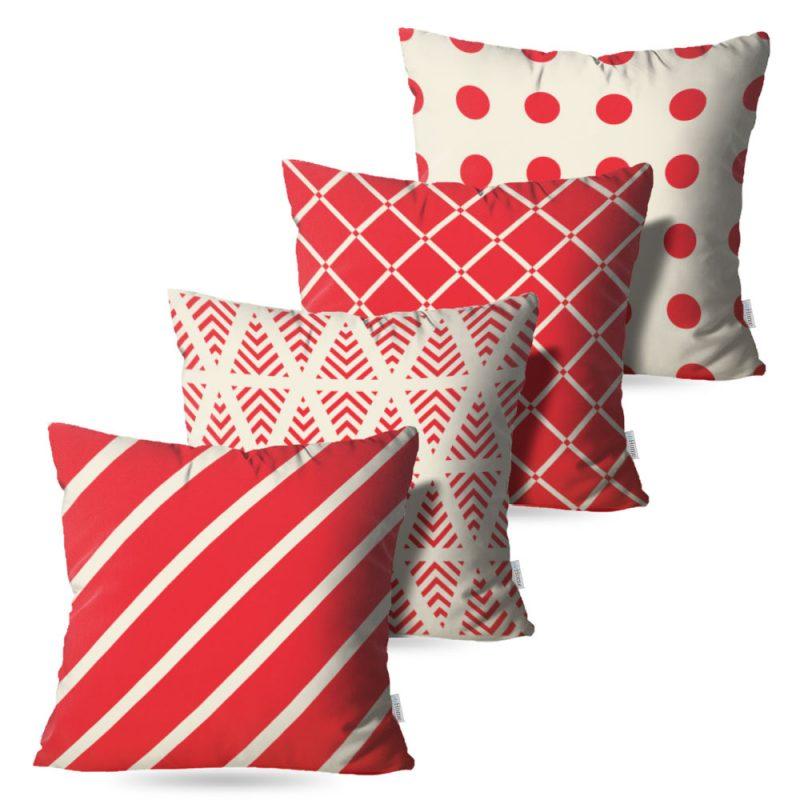 Kit: 4 Almofadas Decorativas Faixas Vermelhas - 45x45