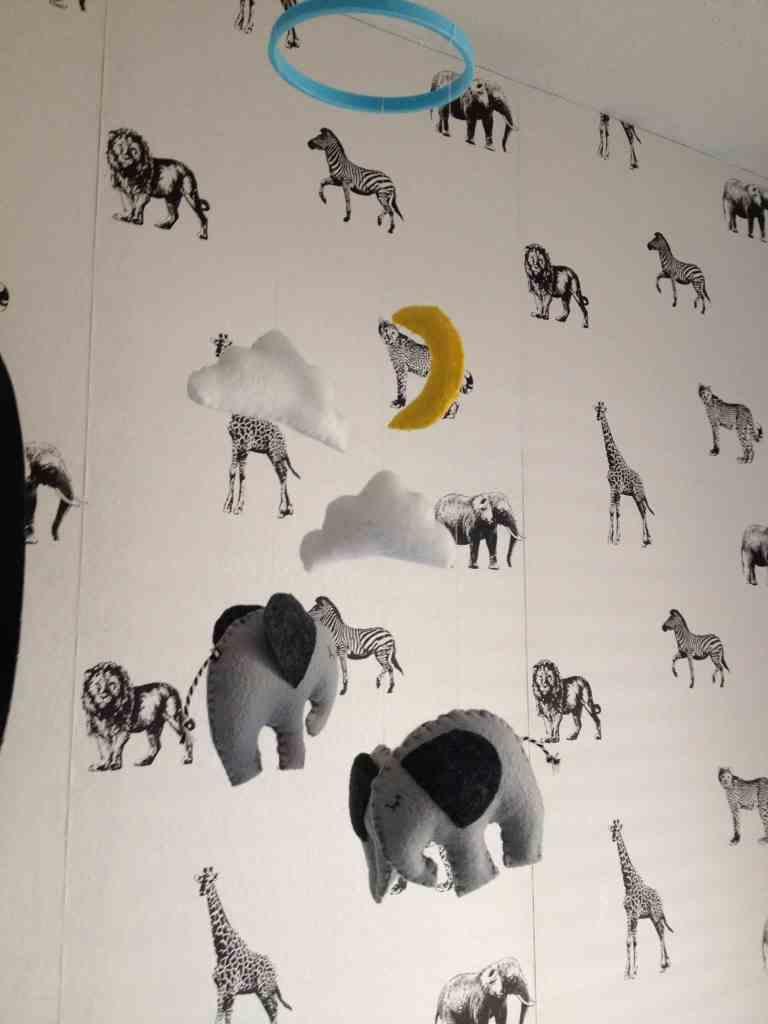 Nursery Tour- safari/ elephant themed. Mint, grey, white, black athomewithashley.com