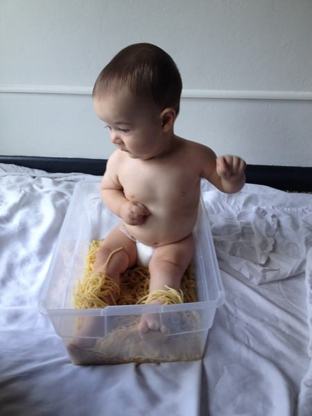 sensory activities baby 9 months old speghetti