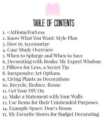 Table of Contents landing page