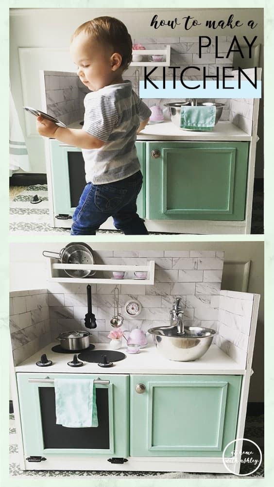 How to make a Play Kitchen from a $10 piece of furniture - at home