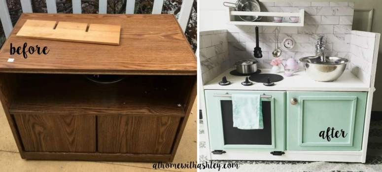 A roundup of 25 of the cutest DIY play kitchens. build your own kids toy kitchen from a vintage converted TV stand, night stand, dresser or from an entertainment center. There are ideas for building a kitchenette from plans to converting a vintage piece, to customizing a ready made Ikea kitchen that's really easy. Homemade DIY. Ideas to DIY a play kitchen for your child complete with a sink, contact paper, back splash ideas, hardware ideas. These are great for girls or for boys. #play #kitchen