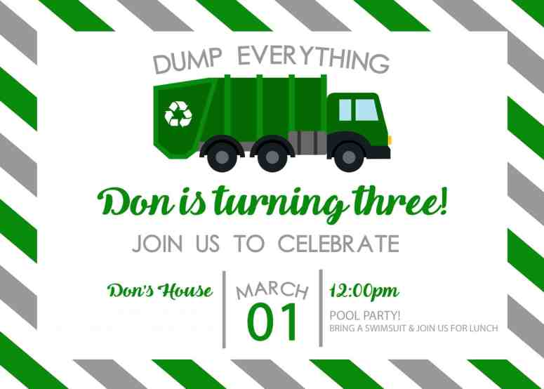 Garbage truck birthday party at home with ashley party invitations filmwisefo