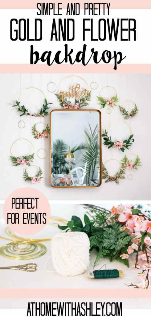 DIY wreath backdrop. Perfect as photo pops for a wedding, birthday parties, baby showers, and dessert tables. A simple tutorial with products used for this decor