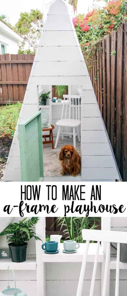 Diy a frame play house at home with ashley diy a frame play house this outdoor playhouse is easy and cheap to make and solutioingenieria Choice Image