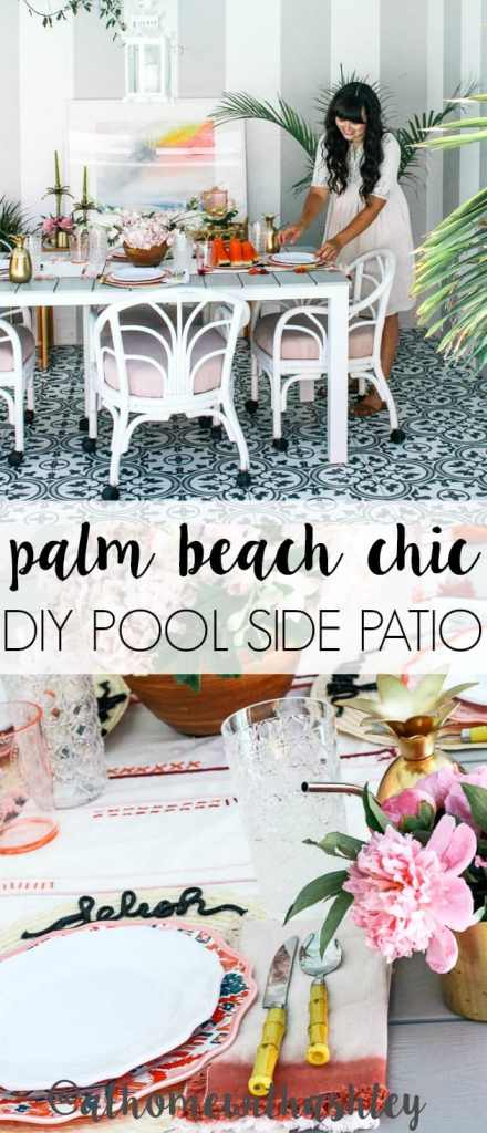 palm beach chic patio reveal. Outdoor patio decor on a budget. Including some fun DIY's! If you have a small backyard covered deck, I have ideas to make it boho and modern. Black and white tile on this pool side tropical patio with pineapple decor. A pink and gold bohemian dream!