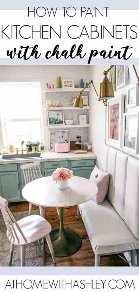 how to paint kitchen cabinets- a step by step guide with chalk paint. This DIY tutorial shows you how to paint without sanding and still have it look like a pro did it! I did white uppers with mint lowers for a two town efect. Includes before and after photos and easy to follow instructions.