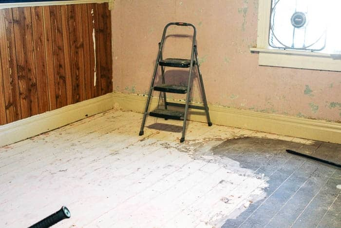 Don S Room Progress How To Remove Paint From Wood Floors At Home