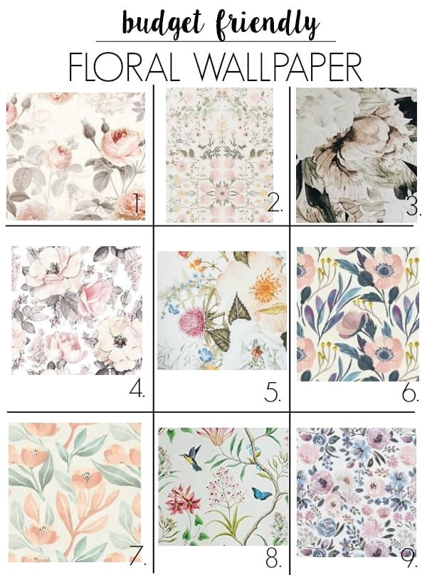 affordable floral mural. Are you looking for cute wallpaper for your baby's nursery, a bedroom, bathroom, or an accent wall? I have removable, vintage looking, modern, bright, and pink options that are budget friendly!