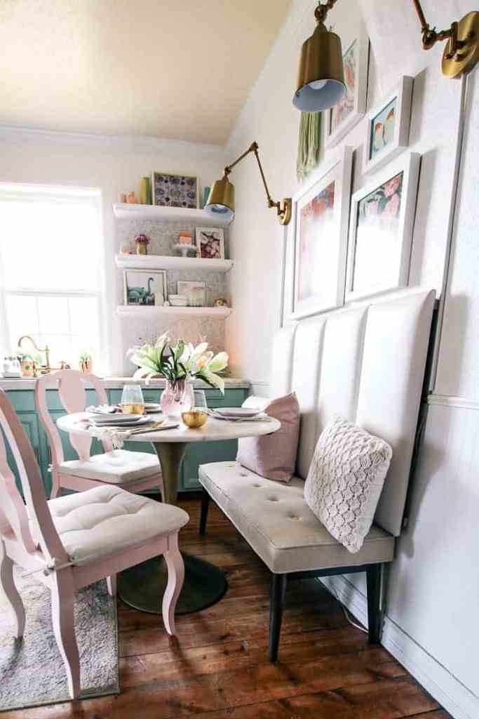 dining room pink and gold fall decor