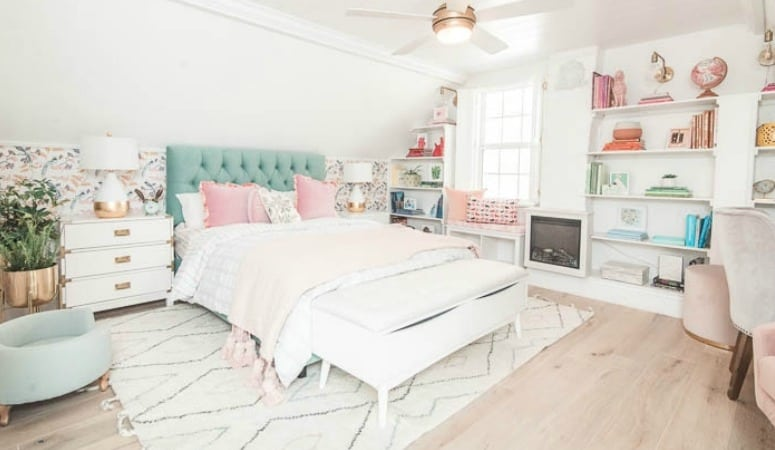 Come inside my master bedroom! I share ideas for how you can get this modern bohemian look with a cozy vibe. From a built in rainbow bookcase to boho decor in the colors of pink, mint, gold, and white. I also include the furniture I used and a diy for the shelves.