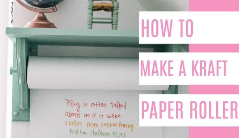 how to make a kraft paper roller- a super easy DIY tutorial with a video. These retail for $150 other places, but you can make one for much less! Plus this is a shelf, so that's extra function! I share step by step instruuctions for making this functional dispenser.